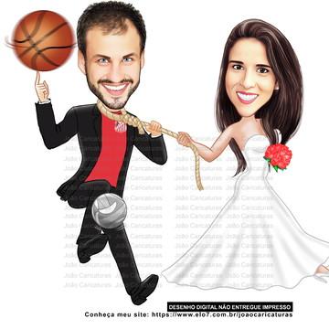 Caricatura digital de casal -Tema casamento