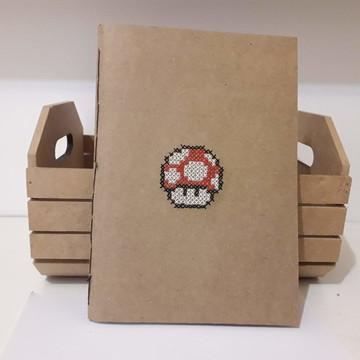 caderno cogumelo Mario Bross