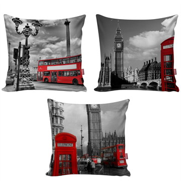 Kit 3 Capa Almofada Decorativa Londres London Viagem