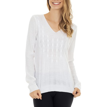 d0f85a2bd Blusa Feminina de Tricot Tricô Decote V Trançada Branca 5096