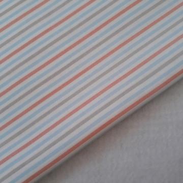 Corte - Tecido de Algodão Listado Azul, Coral e Ocre