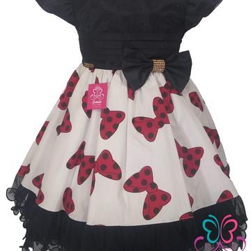 Vestido Luxo Festa Infantil Minnie vermelha aniversário 1/3