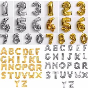 Balões Letras e Números Metalizados