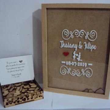 Quadro Assinaturas Casamento 150 Corações+caixa Com Mensagem