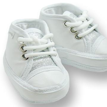 Sapatinho de bebê Tênis Branco e Prata
