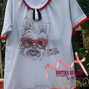 Blusa Infantil Customizada Cachorrinho Yorkshire