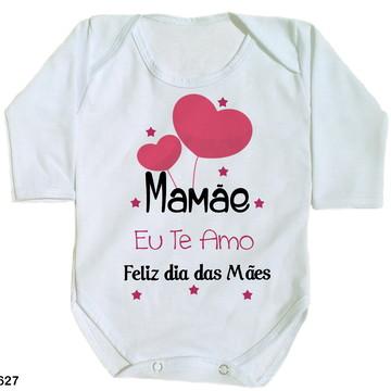 body para bebê mamãe eu te amo feliz dia das mães