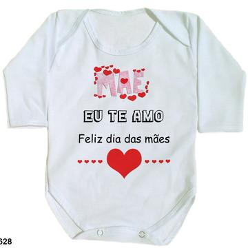 body para bebê mãe eu te amo feliz dia das mães