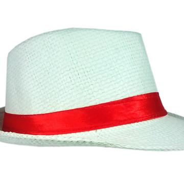 Chapéu Panamá malandrinho Adulto Branco Fita Vermelha