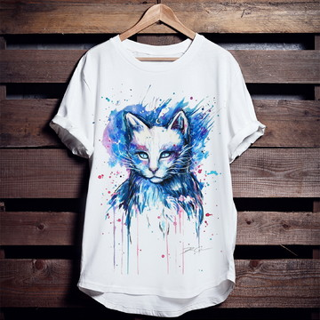 Camiseta Mystical Cat Blue (Gato Mistico Azul)