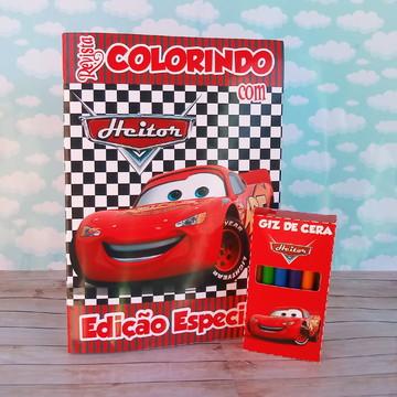 Kit colorir Carros disney luxo revistinha e giz livro