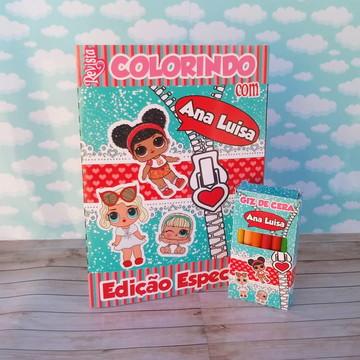 Kit colorir LOL surprise luxo revistinha e giz livro