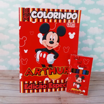 Kit colorir Mickey luxo revistinha e giz