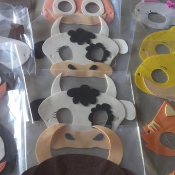 Mascaras tema Fazendinha em eva c/ elastico e embalagem