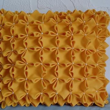 Capa de Almofada Decorativa - Fuxico Laranja