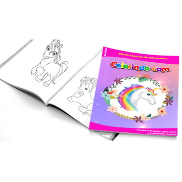 5 Cadernos de Colorir Unicórnio