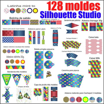 128 moldes kit festa para Silhouette Studio (arquivo digital