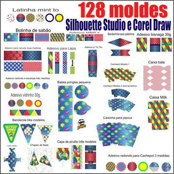 128 moldes kit festa para Silhouette Studio e Corel Draw