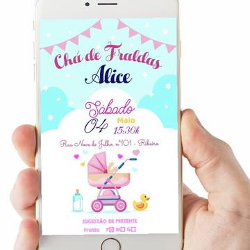 Convite Digital Chá de Bebê/Fraldas Carrinho