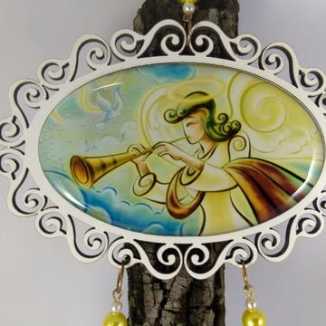 Adorno Santo Anjo do Senhor em MDF Resinado Duplo 35 cm