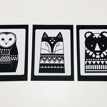 Trio de Placas decorativas para decoração painel/parede