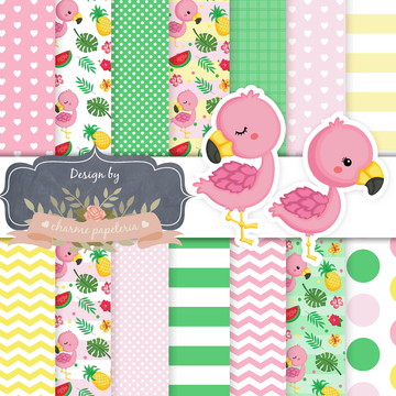 Kit Papel Digital Flamingo e clipart flamingo