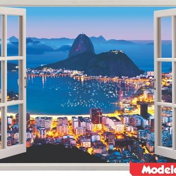 Adesivo De Parede Rio De Janeiro Copacabana Corcovado Brasil