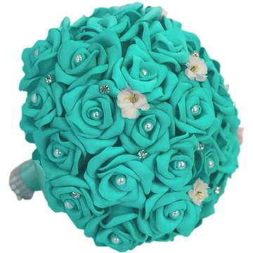 Buquê Para Noivas Flores Casamentos Verde Tiffany Madrinhas