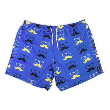 Short Masculino Estampado Praia Colorido Bigode Azul