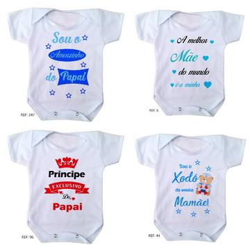body para bebê mamãe papai menino 4 unidades