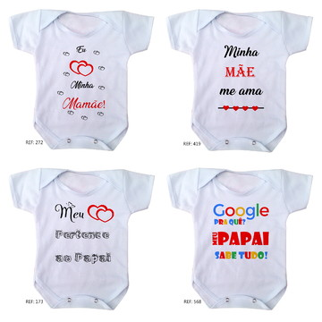 body de bebê mamãe papai 4 unidades body bebe