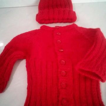 Kit touca e casaco de 0 á 3 meses/tricô/