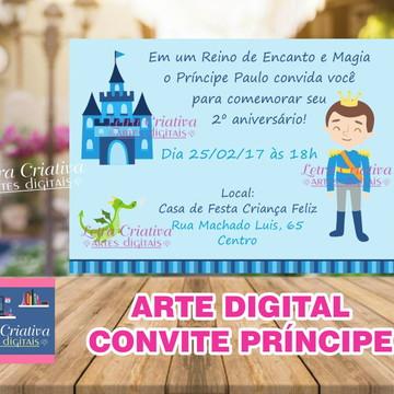 ARTE VIRTUAL CONVITE Festa Infantil Príncipe