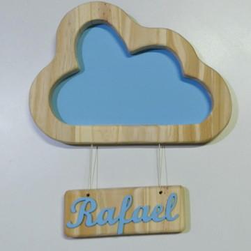 Nuvem de madeira com nome do bebe enfeite quarto bebe