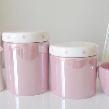 Kit Higiene Bebe Rosa e Branco Poa Bebe Perolado