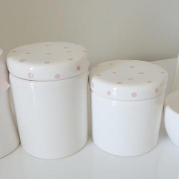 Kit Higiene Branco e Rosa Poa