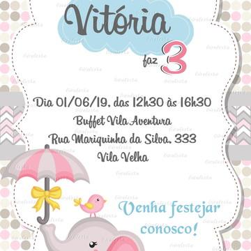 convite digital elefantinha - whats ou imprimir