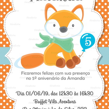 convite digital aniversário raposinha