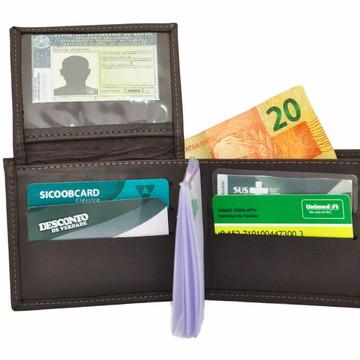 45fa76506 Carteira Masculina Com Porta CNH Em Couro Legítimo Café