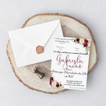 Convite de Casamento - Tema Floral Vinho