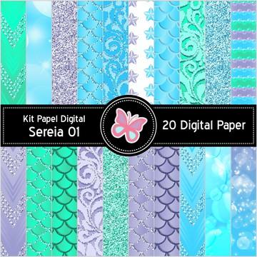 Kit Papel Digital Sereia