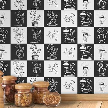 Adesivo azulejo cozinha chef de cozinha (50cmx50cm)
