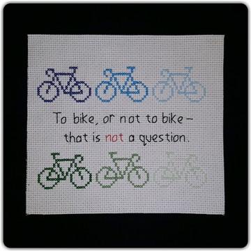 """To bike or not"" azul-verde (somente o pano)"