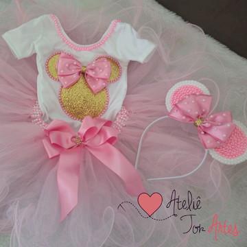 Fantasia Minnie rosa e dourado