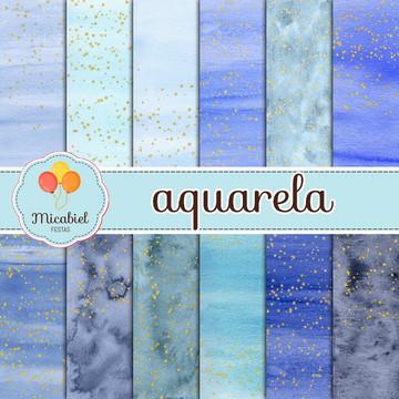 Papel Digital - Aquarela (céu estrelado)