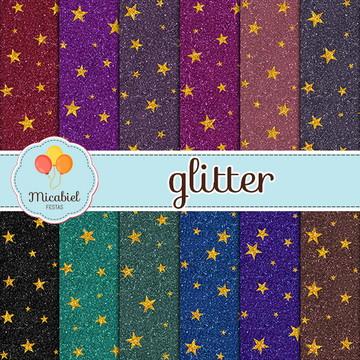 Papel Digital - Glitter (estrelas)