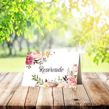 Placa marcador de Mesa Casamentos Floral Rosé