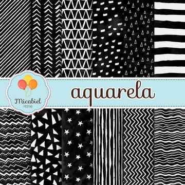 Papel Digital - Aquarela (preto e branco)