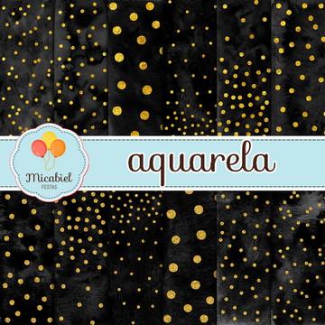 Papel Digital - Aquarela (preto e dourado)