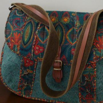 Bolsa em lona estonada e tecido digital três bolsos JULY